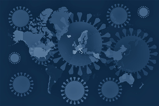 Iran「World Map with Coronavirus Covid-19 overlay」:スマホ壁紙(18)