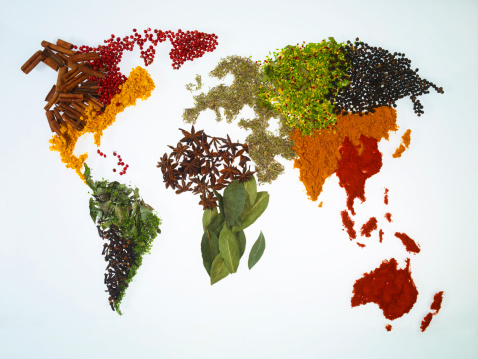 Bay Leaf「World map with spices and herbs」:スマホ壁紙(6)