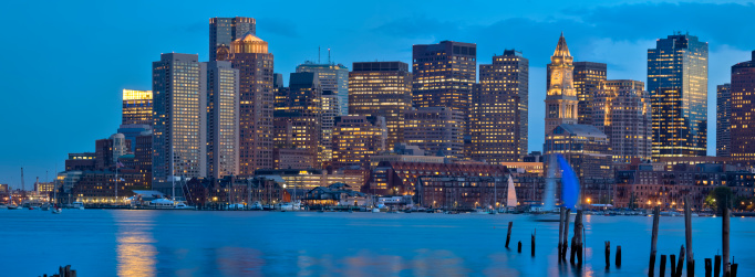 Sailboat「Boston Cityscape With Skyscrapers Aglow After Dark - Panorama」:スマホ壁紙(6)