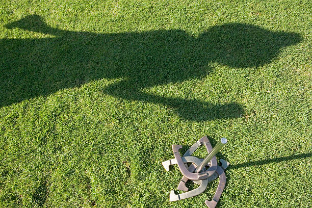 Shadow of person on grass with horseshoes:スマホ壁紙(壁紙.com)