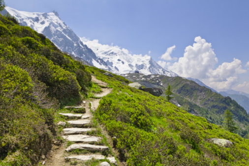 Chamonix「Trail with Mt Blanc and Aiguille du Midi visible.」:スマホ壁紙(10)