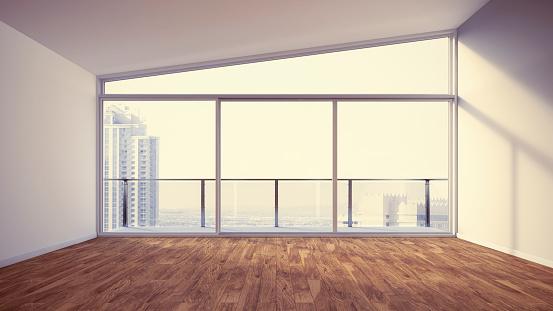 Parquet Floor「Empty apartment with wooden floor, 3d rendering」:スマホ壁紙(12)