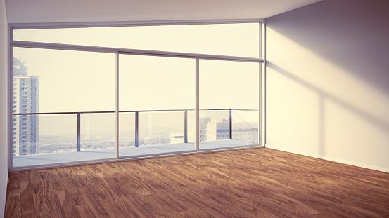 Domestic Room「Empty apartment with wooden floor, 3d rendering」:スマホ壁紙(15)