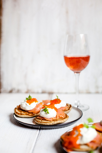 Sour Cream「Russian style blini with salmon, sour cream and trout roe」:スマホ壁紙(14)
