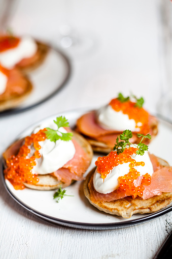 Sour Cream「Russian style blini with salmon, sour cream and trout roe」:スマホ壁紙(2)
