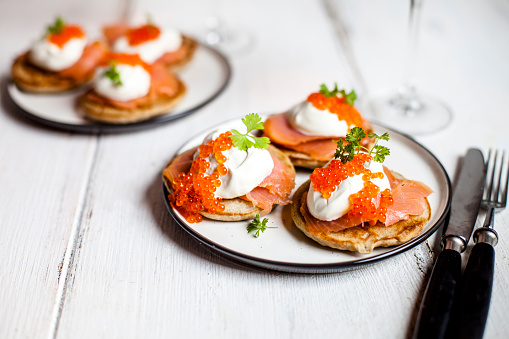 Sour Cream「Russian style blini with salmon, sour cream and trout roe」:スマホ壁紙(11)