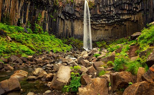 Basalt「Svartifoss Waterfall Falling From Over The Basalt Rocks, Iceland」:スマホ壁紙(9)