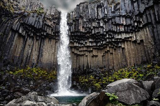 Basalt「Svartifoss waterfall, Skaftafell, Vatnajokull National Park, Iceland」:スマホ壁紙(7)