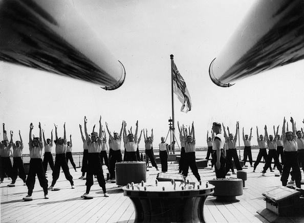 """Boat Deck「Hands up: cadets of the navy training on deck of the british battleship """"Ramillos"""", Photograph, Around 1930」:写真・画像(13)[壁紙.com]"""