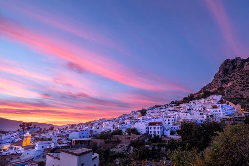 Twilight「Chefchaouen At Sunset, Tangier-Tetouan, Morocco」:スマホ壁紙(10)