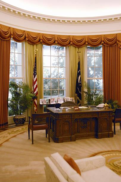 Replica of the White House Oval Office at the Ronald W. Reagan Presidential Library:スマホ壁紙(壁紙.com)