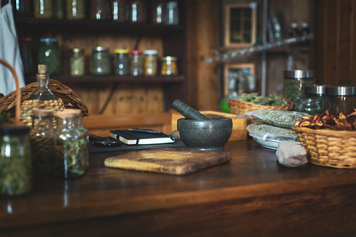 Mortar and Pestle「Small Retro Style Herbs and Spices Store」:スマホ壁紙(8)