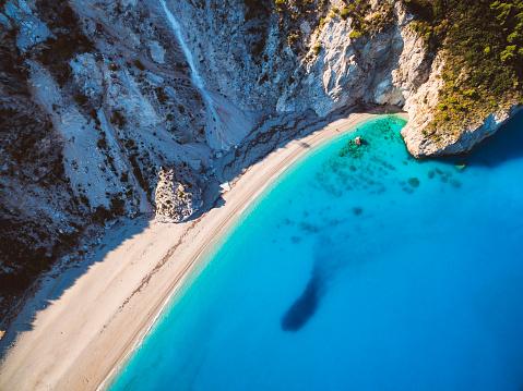 ビーチ「上から空のビーチ」:スマホ壁紙(19)