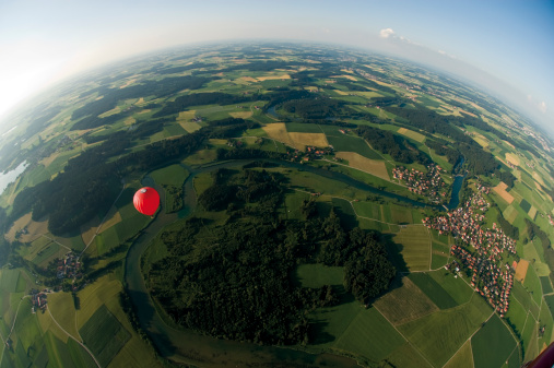 Pasture「Germany, Bavaria, View of hot air balloon over pasture landscape」:スマホ壁紙(3)