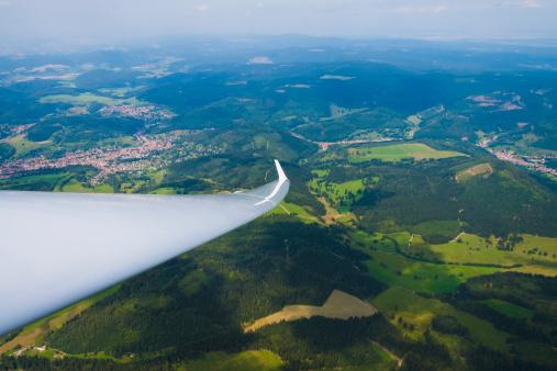 Glider「Germany, Bavaria, Rhoen, part of glider wing, aerial view」:スマホ壁紙(12)