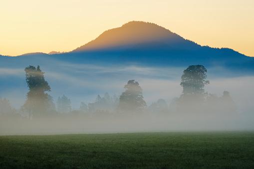 Jachenau「Germany, Bavaria, Upper Bavaria, Isarwinkel, Jachenau, mountain and forest in fog at sunrise」:スマホ壁紙(15)