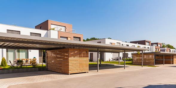 Efficiency「Germany, Bavaria, Neu-Ulm, Thalfingen, modern one-family houses, efficiency houses, carport」:スマホ壁紙(3)