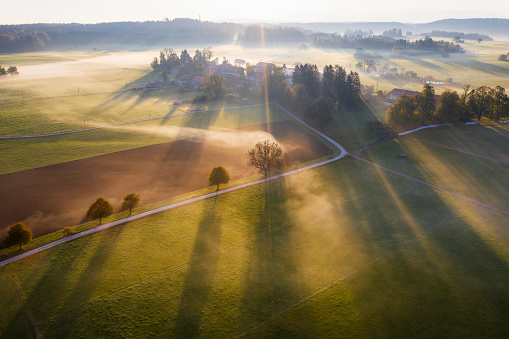 Fog「Germany, Bavaria, Ried near Dietramszell, ground fog at sunrise, drone view」:スマホ壁紙(0)