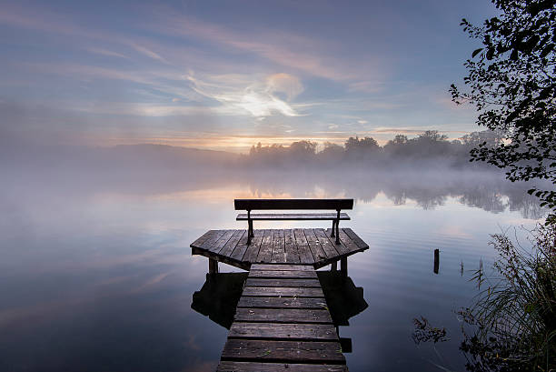 Germany, Bavaria, Wessling, Wesslinger See, boardwalk with wooden bench in the morning mist:スマホ壁紙(壁紙.com)