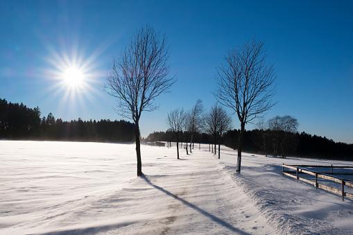 Snowdrift「Germany, Bavaria, Fichtelgebirge, snowdrifts on country road near Bischofsgruen」:スマホ壁紙(15)