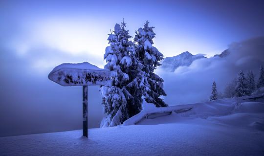 Dachstein Mountains「Germany, Bavaria, Berchtesgaden Alps, snowy landscape, sign on Rossfeld」:スマホ壁紙(12)