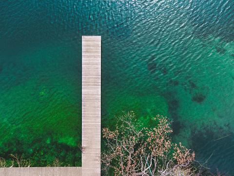 Footbridge「Germany, Bavaria, Chiemsee, aerial view of jetty」:スマホ壁紙(18)