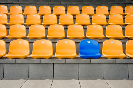 Chair「Germany, Bavaria, Empty stadium seats」:スマホ壁紙(10)