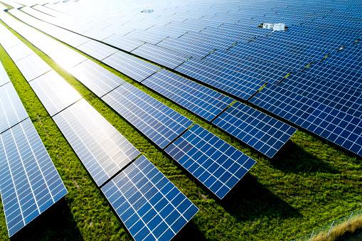 Solar Energy「Germany, Bavaria, Aerial view of photovoltaic plant」:スマホ壁紙(8)