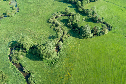 S-shape「Germany, Bavaria, Aerial view of†Red Main†river winding across green countryside meadows」:スマホ壁紙(18)