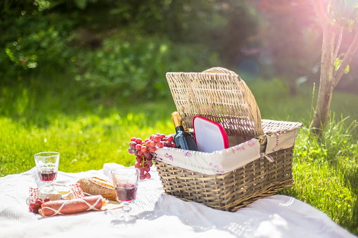 Basket「Germany, Bavaria, Picnic on grass with wine, grapes, sausage, cheese and braed」:スマホ壁紙(6)