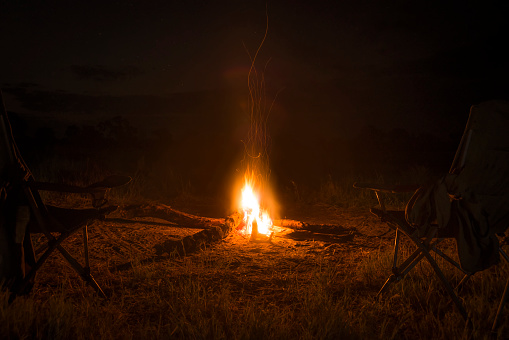 Camping Chair「Two camp chairs around fire at night」:スマホ壁紙(8)