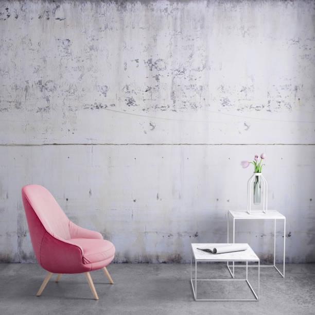 パステル カラーのアームチェア、コーヒー テーブル、花と空白の壁テンプレート:スマホ壁紙(壁紙.com)