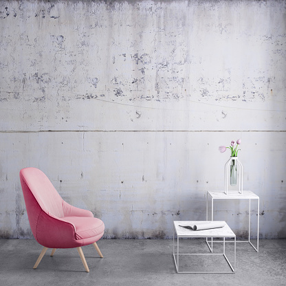 Wall - Building Feature「Pastel colored armchair with coffee table, flowers and blank wall template」:スマホ壁紙(9)