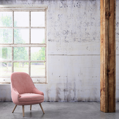 Digitally Generated Image「Pastel colored armchair with coffee table, window and blank wall template」:スマホ壁紙(18)