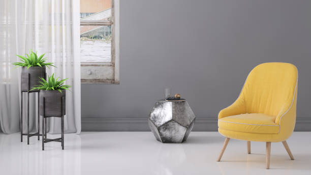 Pastel colored armchair with coffee table, window and blank wall template:スマホ壁紙(壁紙.com)