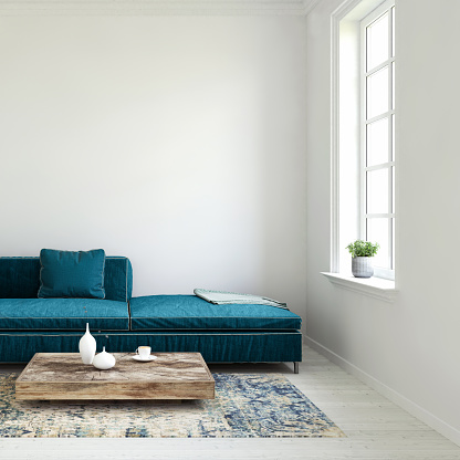 Sunlight「Pastel colored sofa with blank wall and window template」:スマホ壁紙(18)