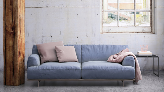 Fashion「Pastel colored sofa with blank wall template」:スマホ壁紙(6)