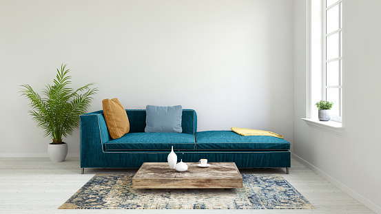 Blue「Pastel colored sofa with blank wall template」:スマホ壁紙(8)