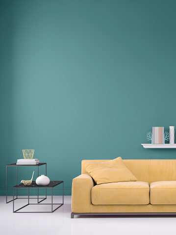 Turquoise Colored「Pastel colored sofa with blank wall template」:スマホ壁紙(0)