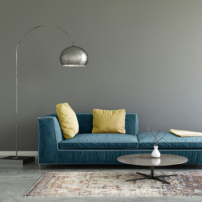 Yellow「Pastel colored sofa with blank wall template」:スマホ壁紙(4)