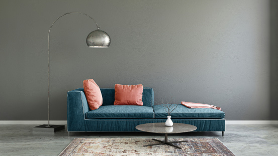 Surrounding Wall「Pastel colored sofa with blank wall template」:スマホ壁紙(0)