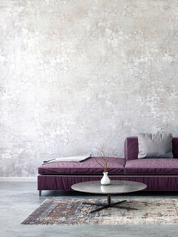 Purple「Pastel colored sofa with blank wall template」:スマホ壁紙(19)