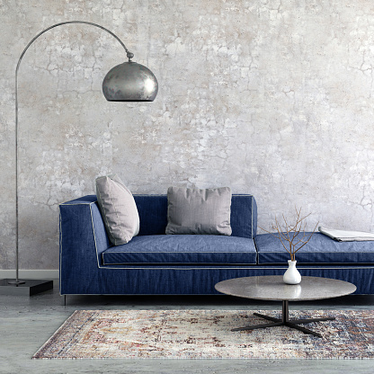 Turquoise Colored「Pastel colored sofa with blank wall template」:スマホ壁紙(12)