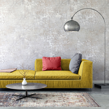2018「Pastel colored sofa with blank wall template」:スマホ壁紙(19)