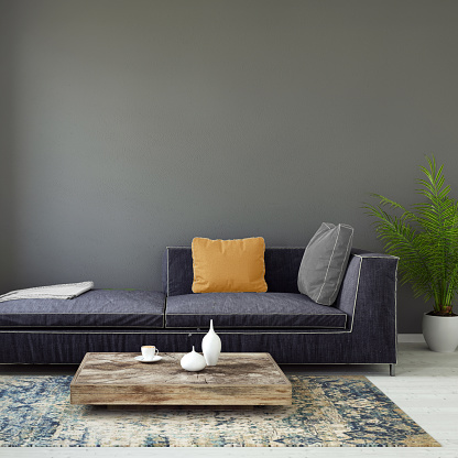 Bedroom「Pastel colored sofa with blank wall template」:スマホ壁紙(2)