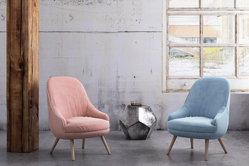 Pastel「Pastel colored armchairs with coffee table, window and blank wall template」:スマホ壁紙(19)