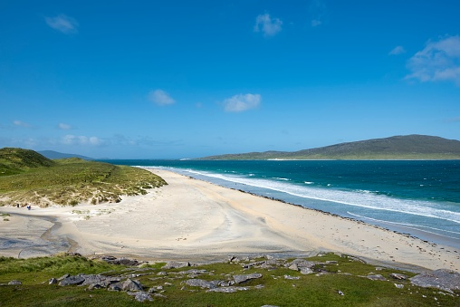 Outer Hebrides「UK, Scotland, Isle of Harris, Leverburgh, view to Luskentyre Beach」:スマホ壁紙(2)