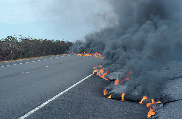 Flaming Lava Flow Moving Across a Road:スマホ壁紙(壁紙.com)