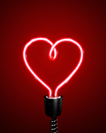 ネオン「Red heart shaped energy saving lightbulb」:スマホ壁紙(19)