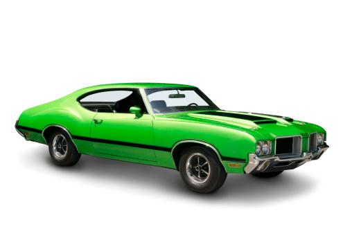 Sports Car「Lime Green Muscle Car - 1970」:スマホ壁紙(8)